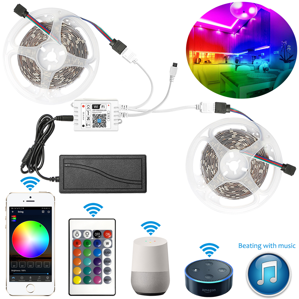 12V Smart 5m 10m 20m 5050 RGB LED Strip Light Set+Transformer+WIFI APP Remote Controller for Amazon Alexa Google Assistant