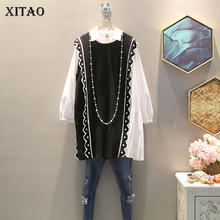 XITAO Autumn Two Piece Set Beading Vest Dress Plus Size Women Long Sleeve Ladies Dresses Fashion 2 Piece Set Women WLD2676(China)