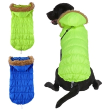 Winter Dog Clothes Pet Tight Hooded Coats Thicken Artificial Fur Collar Super Warm Jackets For