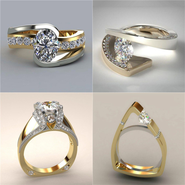 Crystal Zircon Ring Luxury Fashion Gold Color 925 Silver Promise Engagement
