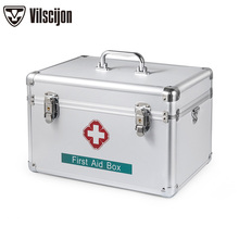 Medical Storage Box Home First aid kit Outpatient Medicine Double Layer with Lock Aluminum Alloy Family Boxs Vilscijon B016