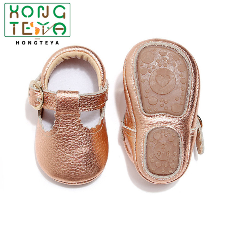 Baby Girl Mary Jane Shoes Genuine Leather Baby T-bar Baby Moccasins Princess Hard Sole First Walkers Toddler Girl Shoes Newborn