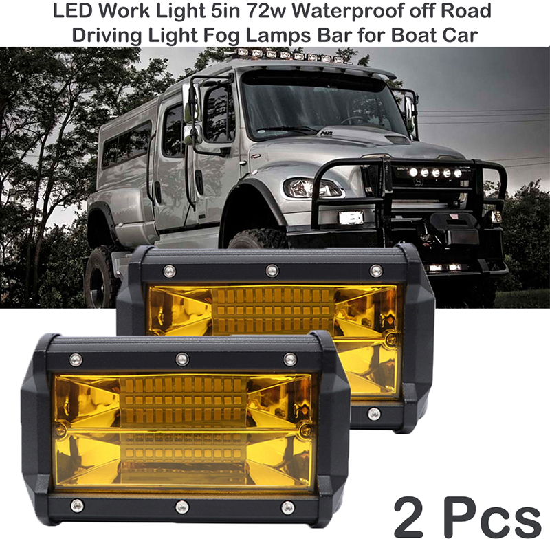 Led Off Road Light For ATV Trucks Motorcycle  Beam Amber Yellow Work Driving Lights Bar Fog Lamp LED Work Light