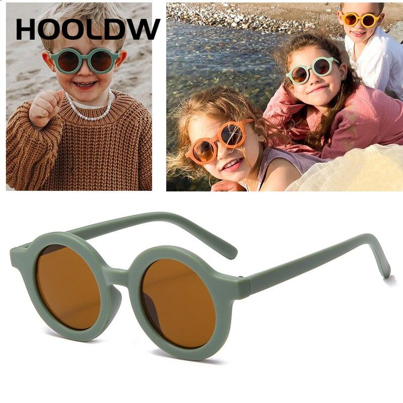 HOOLDW новые модные круглые детские солнцезащитные очки для мальчиков и девочек Винтажные Солнцезащитные очки для детей UV400 Защитные очки oculos ...