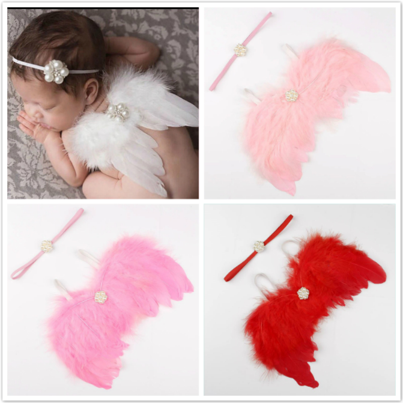 Angel Wings Feather Wings Baby Girl Boys Pearl Headband Photo Shoot Hair Accessories For Newborn Photography Props 0-3 Months