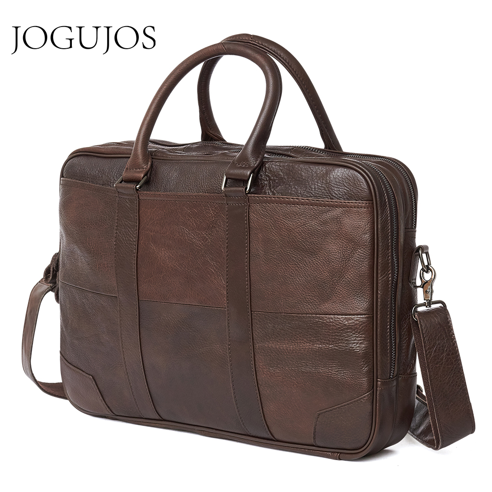 JOGUJOS Business Men's Briefcase Genuine Leather Briefcase Computer Laptop Office Handbag Leather Man Shoulder Messenger Bags