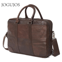 JOGUJOS Business Mens Briefcase Genuine Leather Computer Laptop Office Handbag Man Shoulder Messenger Bags