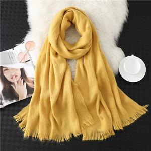 Image 4 - Лидер продаж 2020, новый зимний теплый толстый шарф хиджаб из чистого кашемира, Женская шаль, бандана, женские шарфы, Пашмина