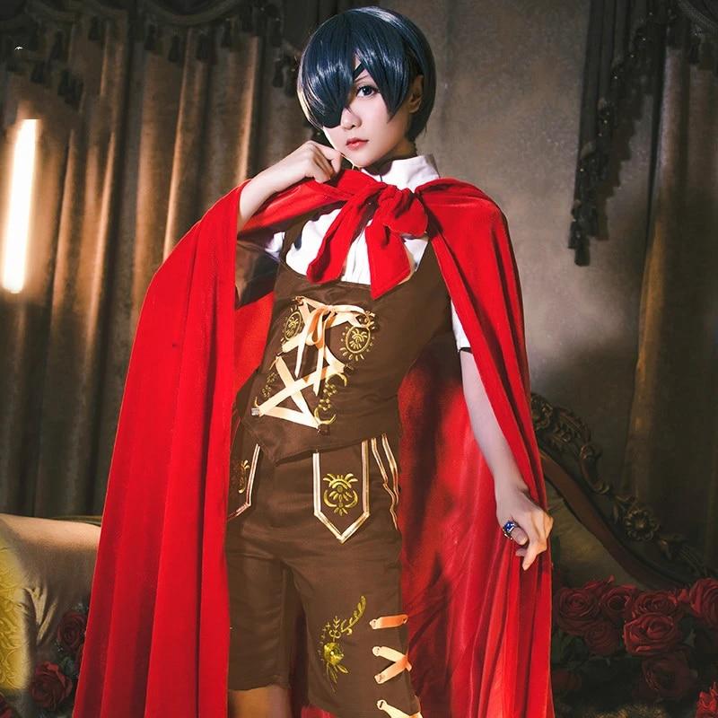 Black Butler Ciel Cosplay Costume Little Red Cloak Full Set Outfits Halloween