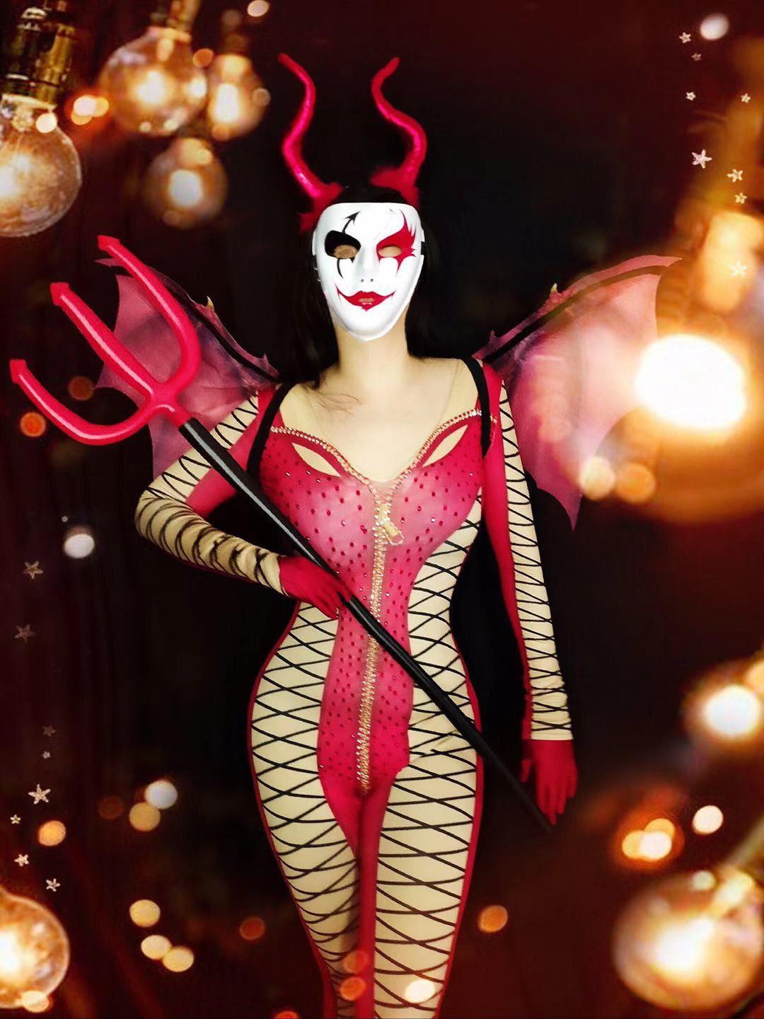 2020 Women New Halloween 3D Printed Red Queen Costume DJ DS Singers Jumpsuit Bling Bodysuit Celebrate Performance Clothing Set