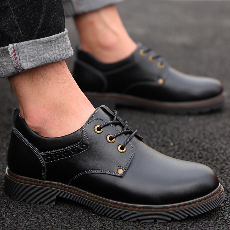 Leather Shoes Men Footwear Men Casual Shoes High Quality Man Business Shoes Fashion Brand Male Booties Black Brown KA1759