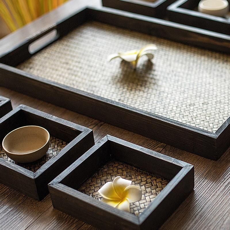 Plateau d'articles tressés en rotin bois | Plateau en bambou, ensemble de sept papiers, tissage de bambou thaïlandais, Fruits secs décoration Compote - 3