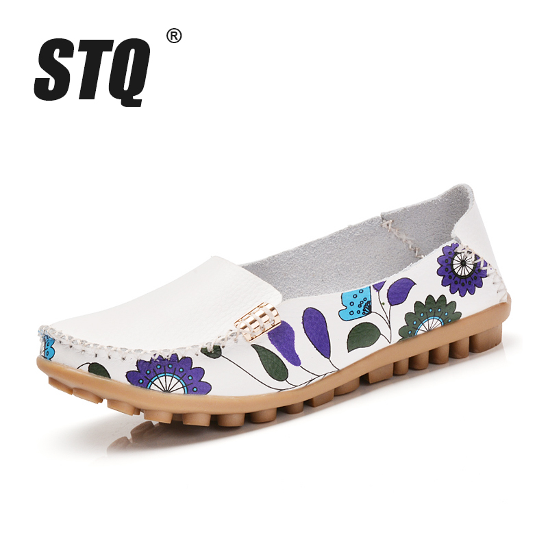 STQ 2019 Autumn women flats genuine leather shoes slip on ballet flats ballerines flats woman shoes moccasins loafers shoes 170