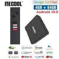 MECOOL KM1 KM2 Android 10,0 caja de TV ip Amlogic Netflixs 2,4G/5G WiFi 4K BT4.2 Control de voz certificado por Google TVbox Chromecast