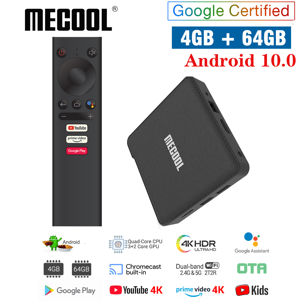 MECOOL NEW KM1 Android 10 0 TV Box 4GB RAM 64GB ROM Amlogic S905X3 2 4G 5G WiFi 4K BT4 2 Voice Control Google Certified TV box