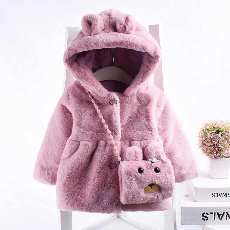 New Style Baby Toddler Infant Girls Clothes Cute Fleece Fur Winter Warm Coat Outerwear Hooded Baby Coat for Girls 6-24 Months