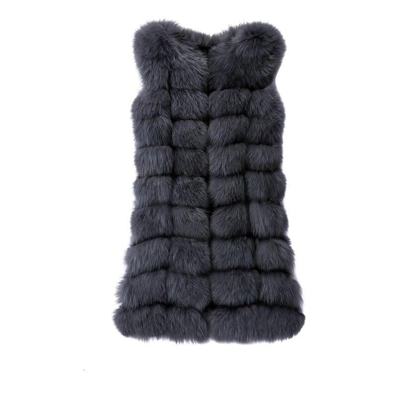 Real Fox Skin Vest Women's Long Coat Women's Natural Fox Skin Vest Women Don't Have Warm Sleeves Real Fur Vest Women