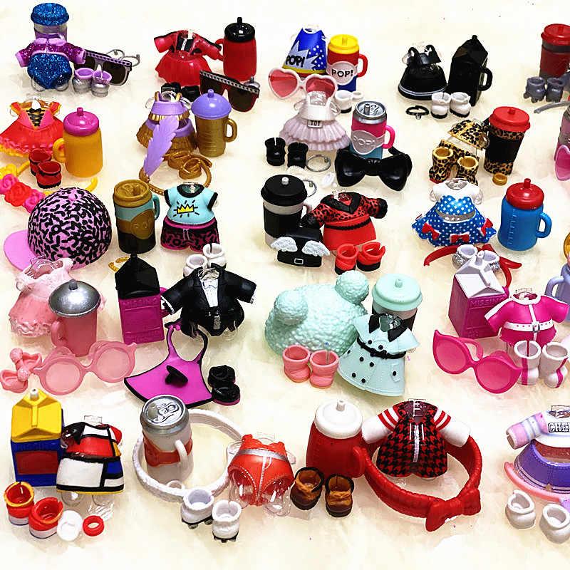 جديد تعال L.O.L. مفاجأة! 1 مجموعة الأحذية الملابس الأصلي زجاجات الاكسسوارات فستان دعوى ل LOL 8 سنتيمتر دمى شقيقة كبيرة لعبة طفل هدية