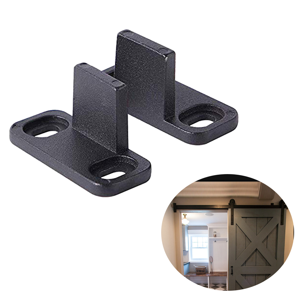 Barn Door Guide 2 Pcs Floor Sliding Hardware Anti Swinging Bottom Bracket Adjustable Carbon Steel Accessories Ultra Sth Fixing Parts Low Noise Durable