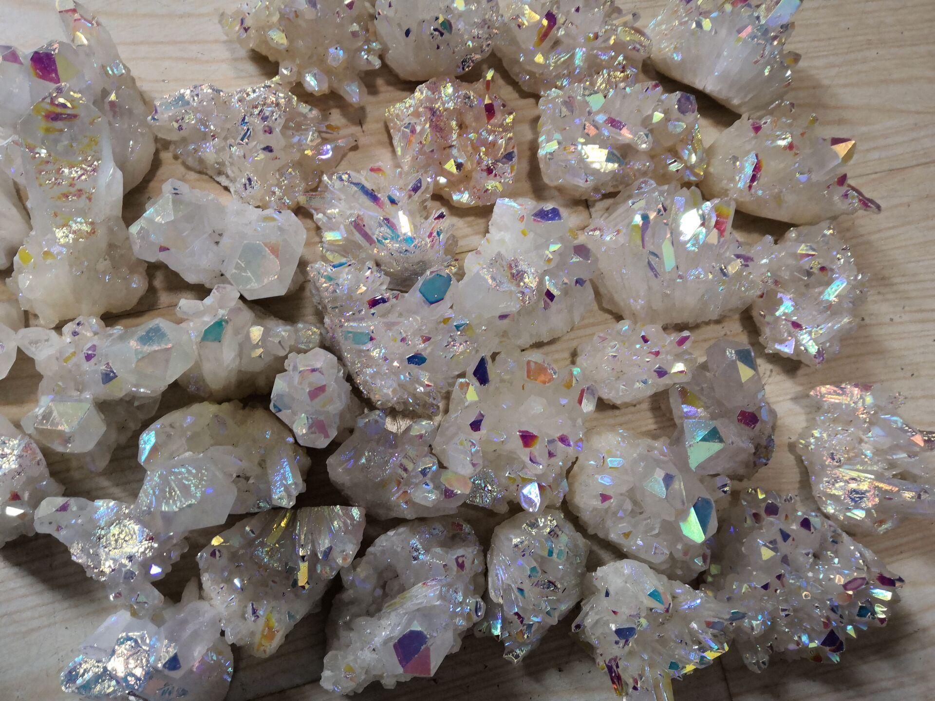 50 Grams Natural Angel Aura Crystal Cluster Electroplating Titanium Coating Quartz Cluster Guarigion Stone