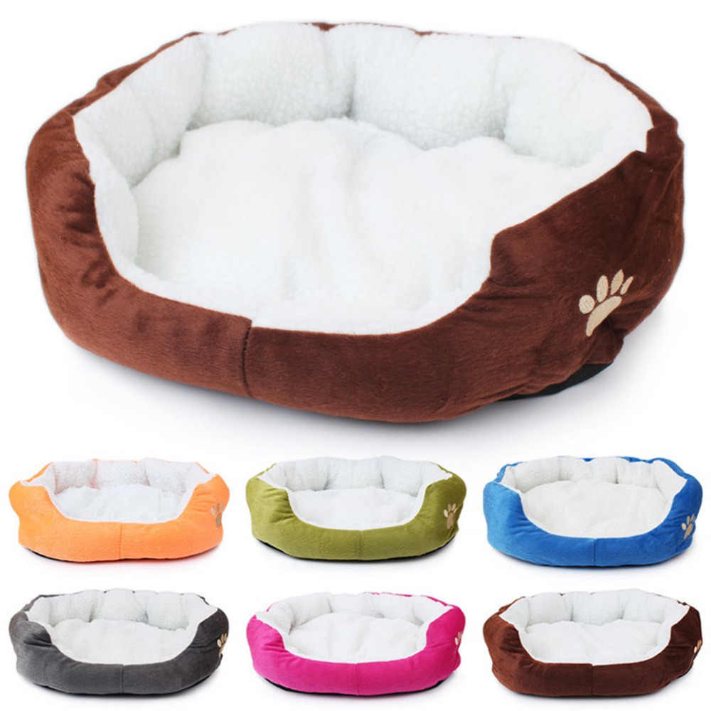 Pet Dog Cashmere Bed Warming Dog House Soft Sofa Material Nest Dog Baskets Fall Winter Warm Kennel For Cat Puppy Supplies