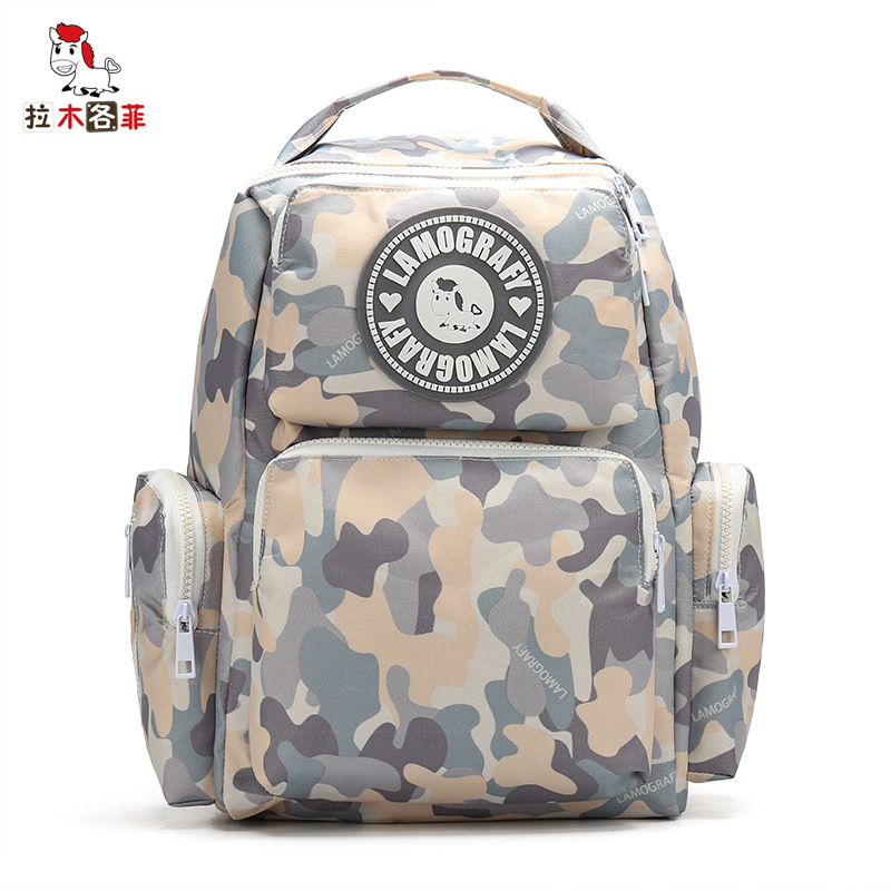 La Mu Each Phenanthrene New Products Printed Backpack Large-Volume Mom And Baby Backpack Nursing Waterproof WOMEN'S Bag Fashion
