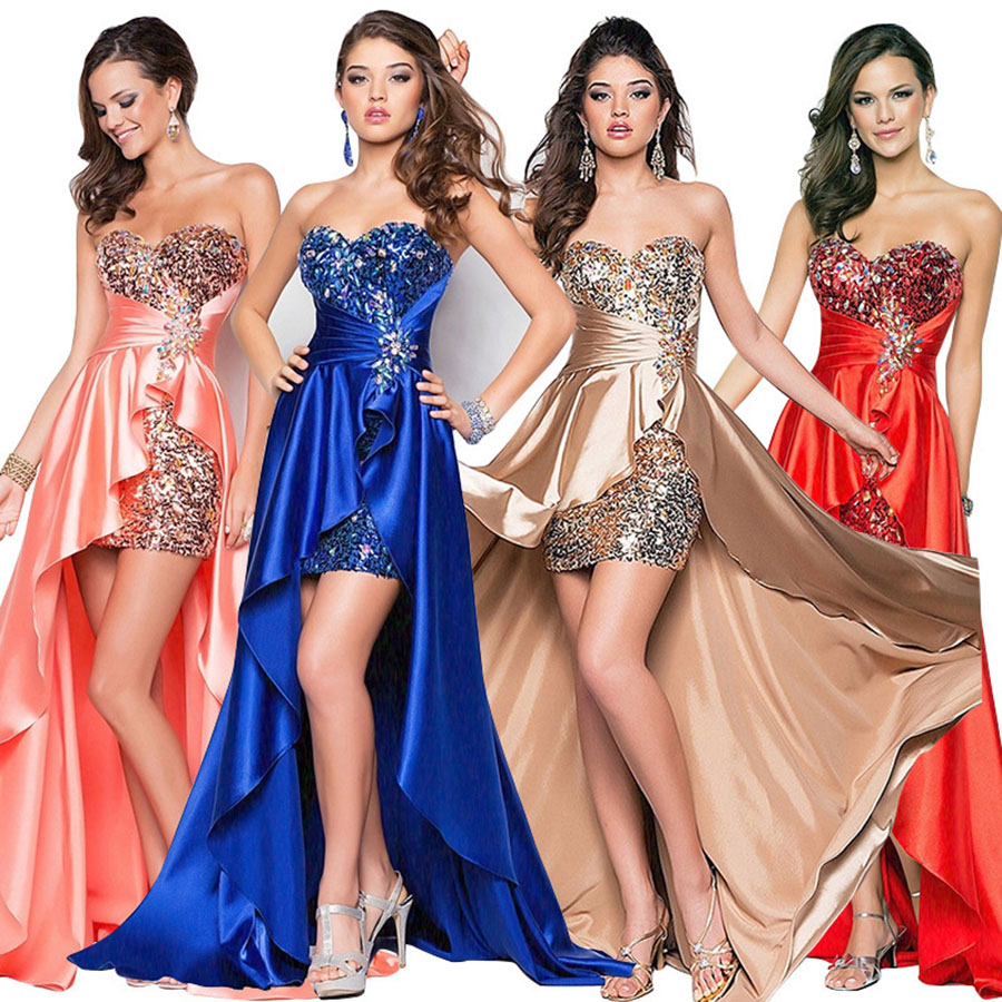Vestido de Baile de Gala Sexy sem Alças de Festa Skyyue Lantejoula Elegante Formal 2020 H045