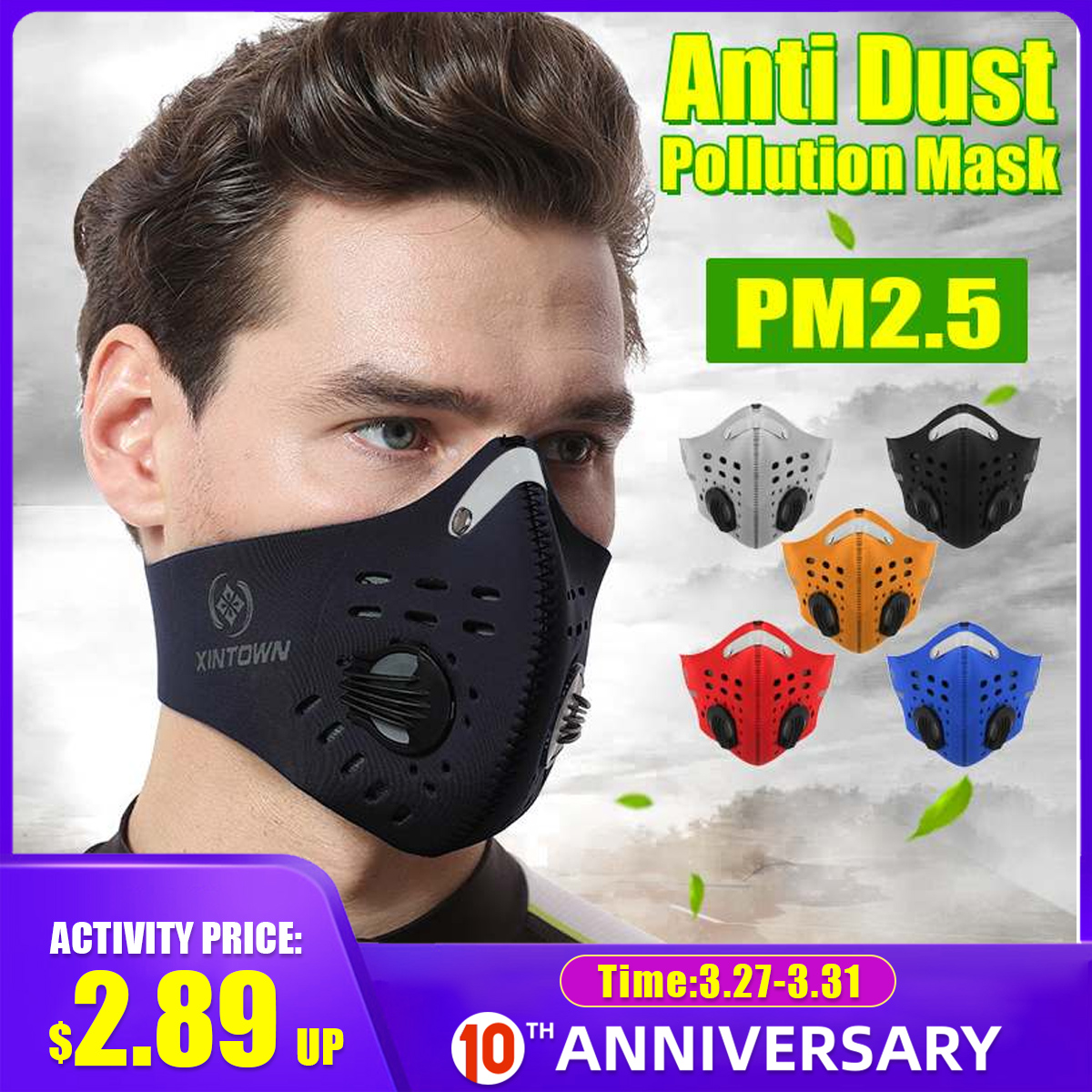 10Pcs Face Mask Half Anti Dust Pollution Filter Sport Cycling Bicycle Bike In Stock Fast Shipping