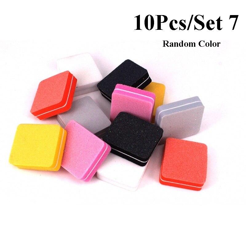 10pcs/lot Mini Sponge Nail File Colorful Sanding Buffer UV Gel Polish Set Block Nail Files Double Side Nagel Nail Art Tools 13