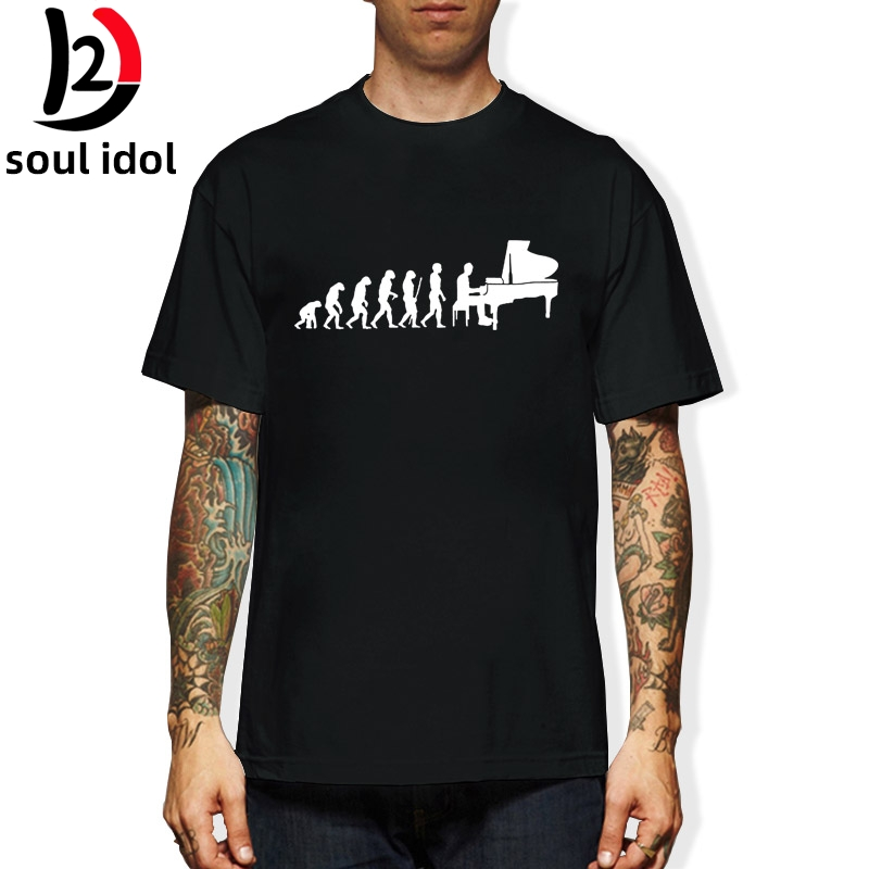 D2 Evolution Pianist Piano T Shirt Men Male Summer Short Sleeve Thanksgiving Day Custom Big Size Team Music T-Shirts image