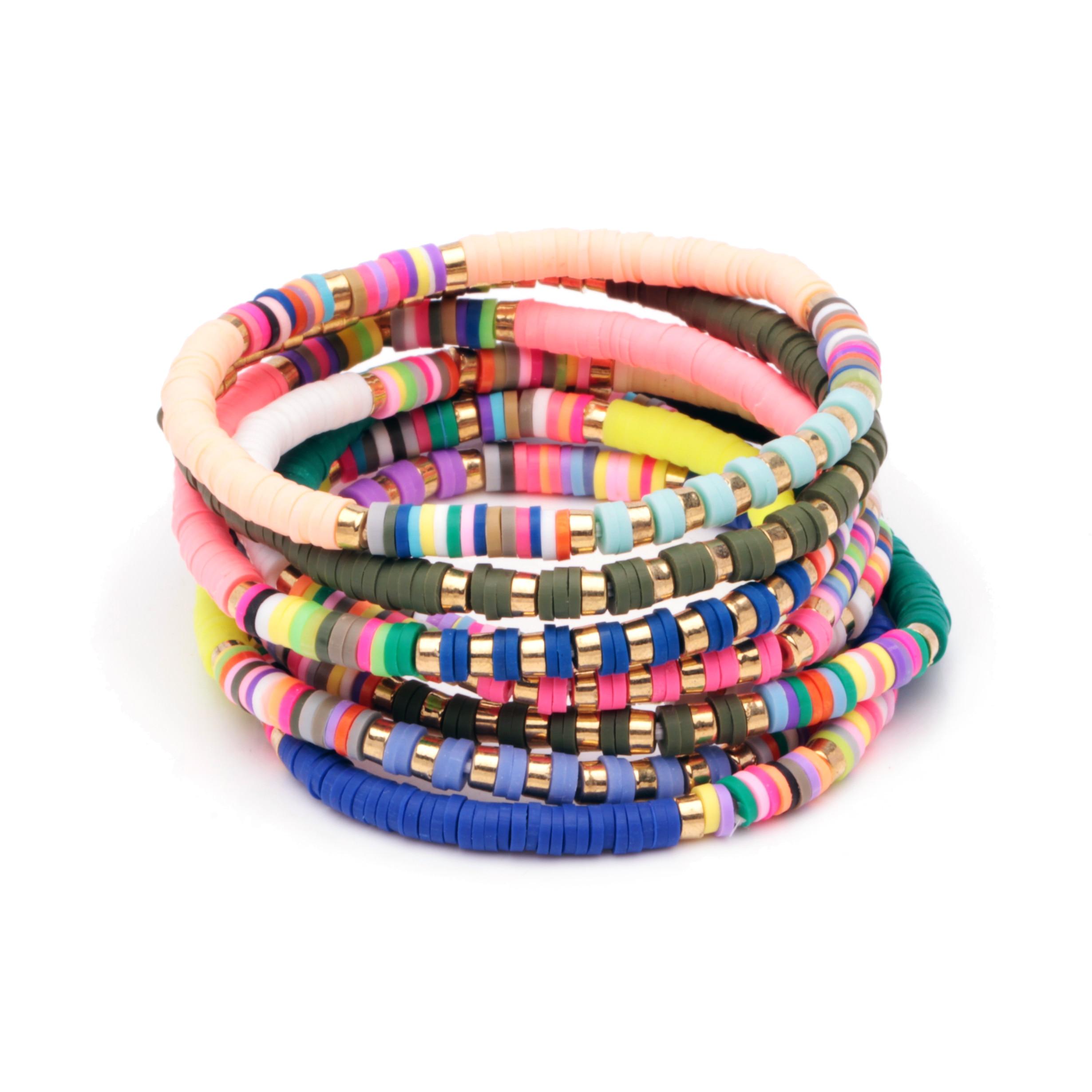 Mix Vinyl Heishi Discs Bead Stretch Bracelet Women Men Colorful CCB Spacer Bead Polymer Clay Natural Tubular Bracelets Nova Gift
