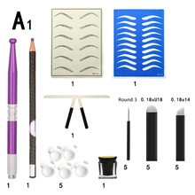 Microblading Practice Kit Skin Sheets Ink Pigment Cup Manual Pen Eyebrow Pencil Needle Blade Permanent Makeup Tool Practise Set