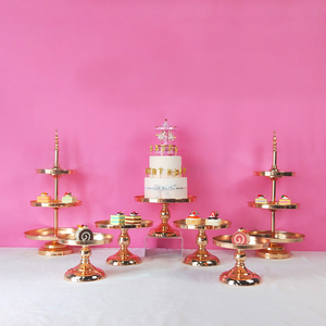 Image 5 - New arrive Gold Crystal cake stand set Electroplating gold mirror face fondant cupcake sweet table candy bar table decorating