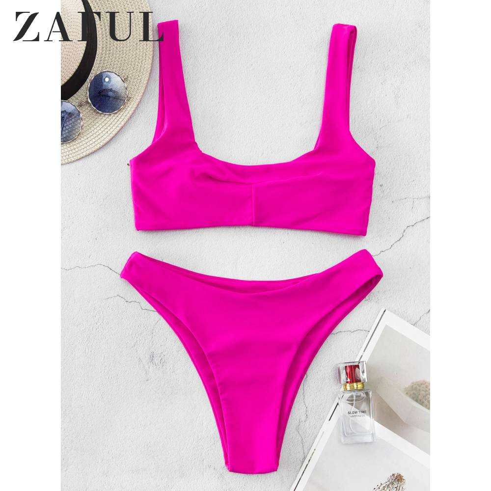 ZAFUL U Neck High Cut Tank Bikini Swimsuit Dimorphotheca Magenta Women Swimwear Olid Color Vest Bikini 2020 Two Piece Swimsuit