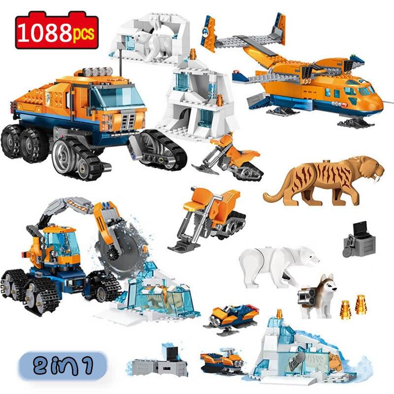 Город Arctic Scout грузовик воздушный транспорт база модель строительные блоки Совместимые с город создатели Кирпичи игрушки для детей