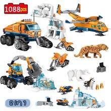 Cidade ártico scout caminhão base de transporte aéreo modelo blocos de construção compatível cidade criadores tijolos brinquedos para crianças