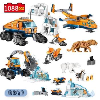 City Arctic Scout Truck Air Transport Base Model Building Blocks Compatible  Creators Bricks Toys for Children