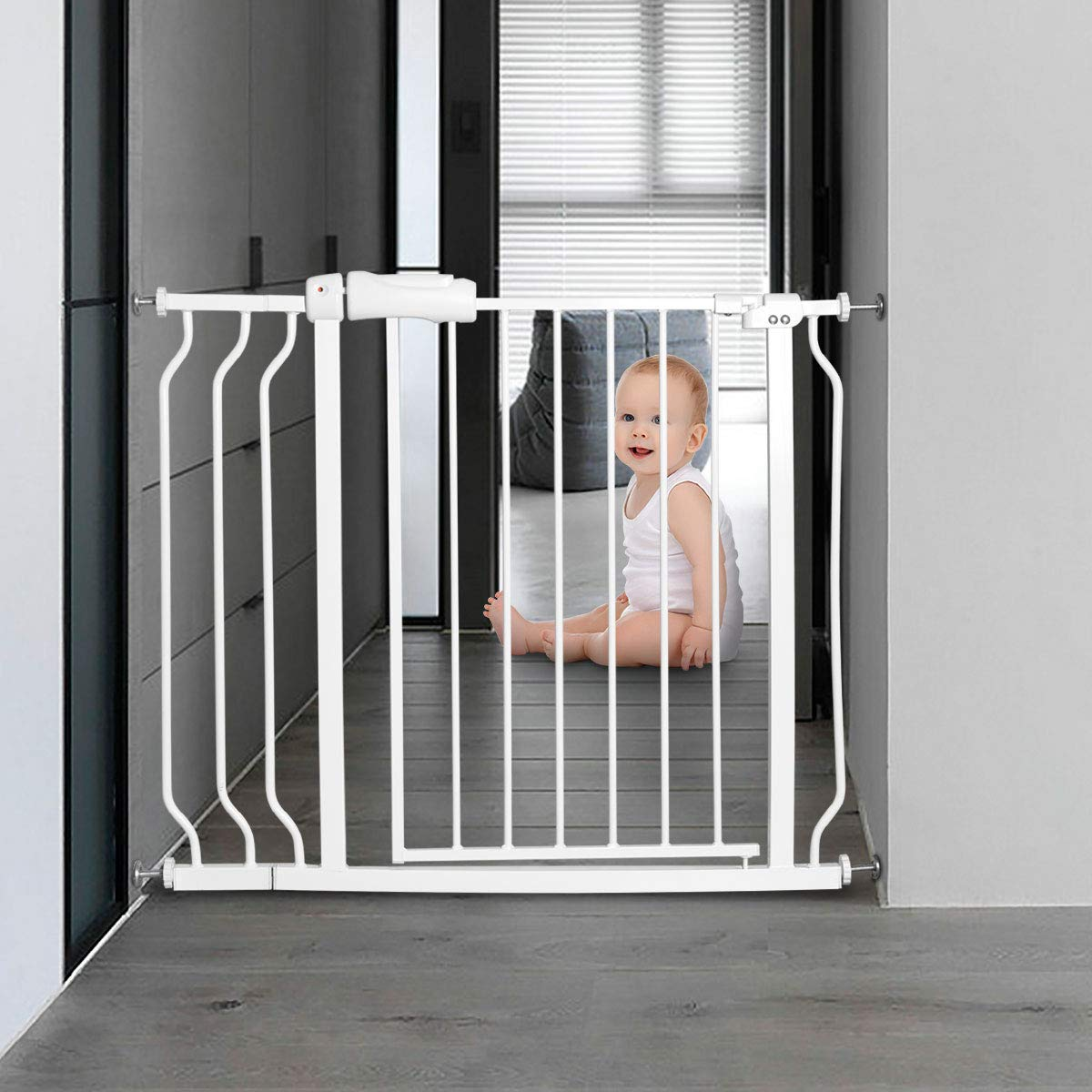 Baby gate for Child Protection and Isolation from Unsafe Places like Stairs and Kitchen 19