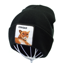 Cartoon animal Embroidery cougar Beanie Hat winter for women men Crochet Elastic Knitted cap Winter Warm Beanies Ski Caps gorro цена 2017