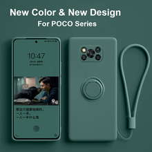 Poco X3 X 3 Pro NFC 케이스 액체 실리콘 링 홀더 스탠드 소프트 커버 Xiaomi Poco X3 Pocox3 Pro NFC 용 카메라 보호 케이스