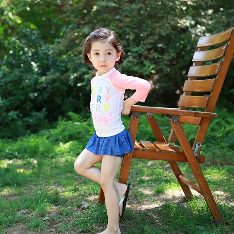 South Korea Children Split Type Swimsuit Princess Dress-Boxer Cute Baby GIRL'S Children Long Sleeve Sun-resistant Swimwear