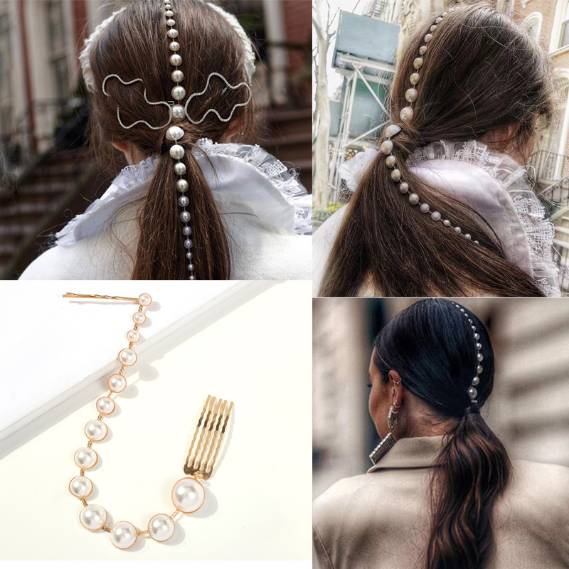 Personality Fashion Long Tassel Pearl Hair Clip Stick Beaded Barrettes Top Head Ponytail Hairpin Punk Hairgrips Accessories