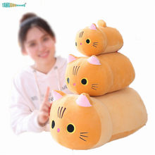 Soft Stuffed Animals Doll Cat Plush Toys Pillow Backrest Sofa Cushion Baby Sleep Partner Kids Girl birthday Gift 25-50cm Cute(China)