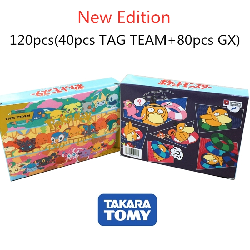 120pcs Pokemon Cards TAG TEAM New Version Flash Card Takara Tomy Game Trading Card Kids Toys