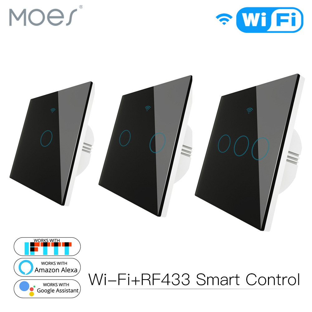 WiFi Smart Glass Panel Switch Tuya App Remote Control  Work With Alexa Echo Google Home RF433 EU Type Touch Black 1/2/3 Gang