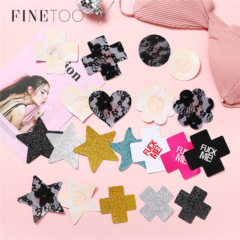 3Pairs Nipple Cover Breast Petals Mixed Paste Lace Adhesive Stain Fashion Pasties Heart Star Cross Lingerie Stickers Accessories