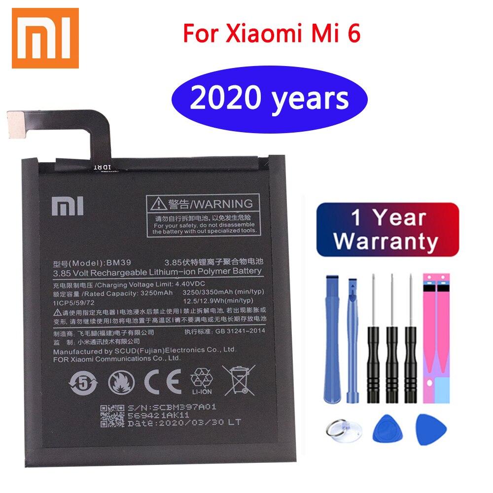 2020 лет Xiaomi Оригинальный аккумулятор для телефона BM39 для Xiaomi Mi 6 Mi6 3250mAh Высокая емкость Замена батареи Бесплатные инструменты
