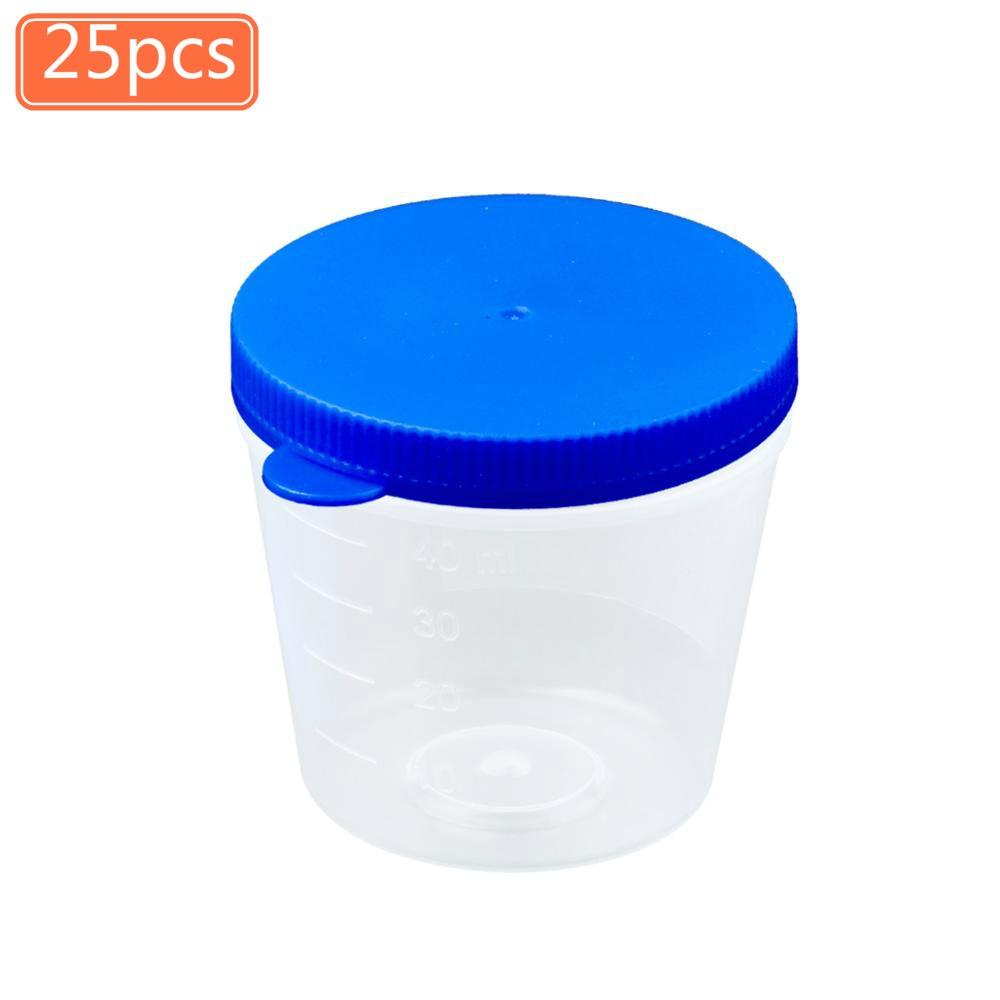25 Stks/partij Wegwerp Transparante Plastic Monster Flessen 40 Ml Urine Specimen Verzamelen Cups Schroefdop Anti-Spill mini Containers