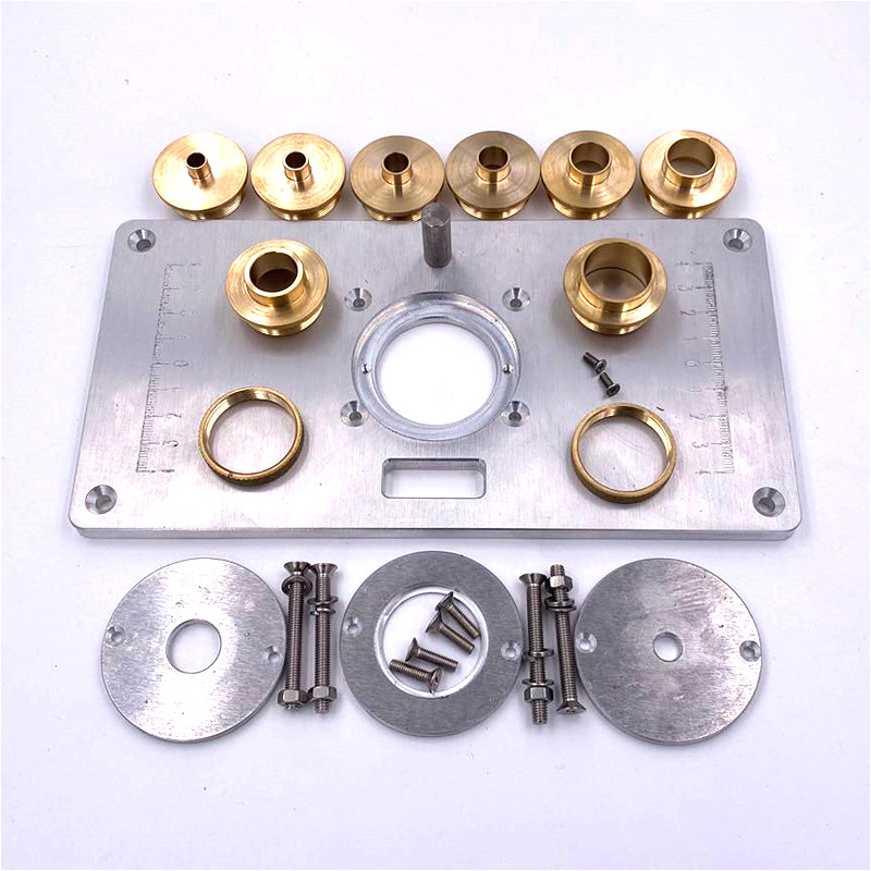 Woodworking Tools Router Table Insert Plate W/ Insert Rings Copper Bushing for Trimmers Routers DIY Engrving Machine