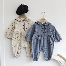 Baby Autumn Winter Plus Velvet Long Sleeve Romper Dot Print Baby Boys Girls Warm Jumpsuit Clothes One-piece For Newborn